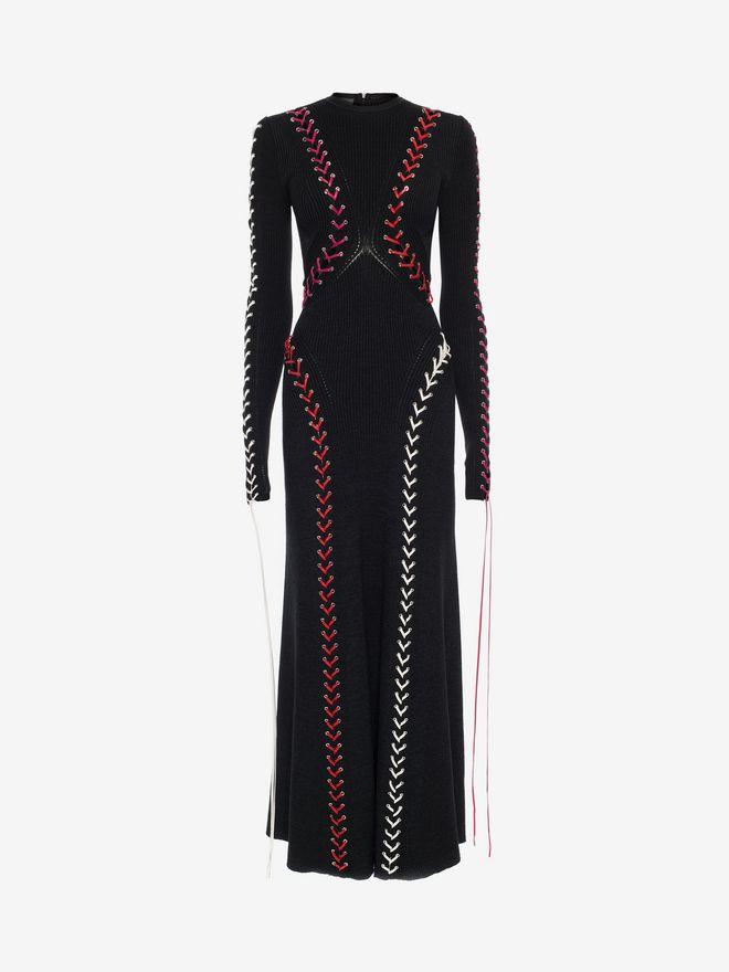 ALEXANDER MCQUEEN Bouclé Knit Long Dress with Leather Lacing Long Dress D f