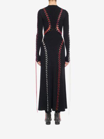 ALEXANDER MCQUEEN Bouclé Knit Long Dress with Leather Lacing Long Dress D e