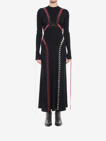 ALEXANDER MCQUEEN Bouclé Knit Long Dress with Leather Lacing Long Dress D r