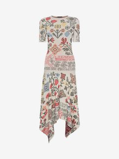 ALEXANDER MCQUEEN ミドル丈ドレス D Samplers Embroidered Long Dress f