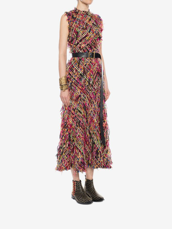 ALEXANDER MCQUEEN Wishing Tree Tweed Pencil Midi Dress Long Dress D d