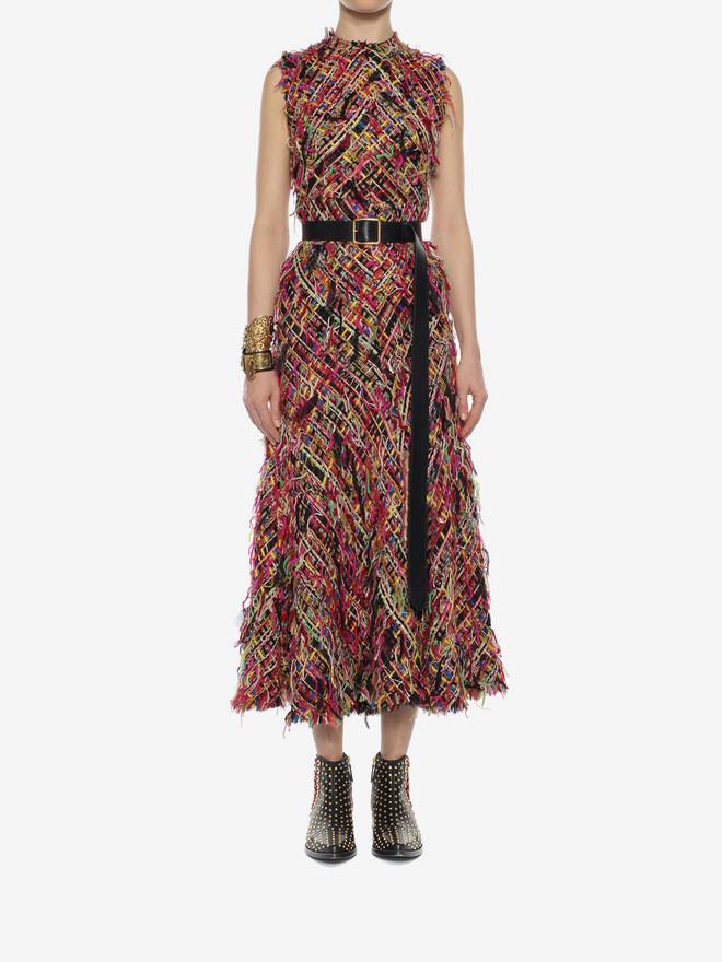 ALEXANDER MCQUEEN Wishing Tree Tweed Pencil Midi Dress Long Dress D r