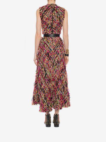 ALEXANDER MCQUEEN Wishing Tree Tweed Pencil Midi Dress Long Dress D e