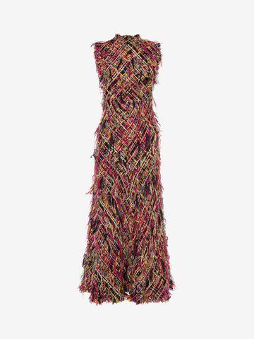 ALEXANDER MCQUEEN Wishing Tree Tweed Pencil Midi Dress Long Dress D f