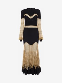 ALEXANDER MCQUEEN Long Dress D Metallic Mesh Knit Dress f