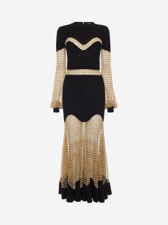ALEXANDER MCQUEEN Metallic Mesh Knit Dress Long Dress D f