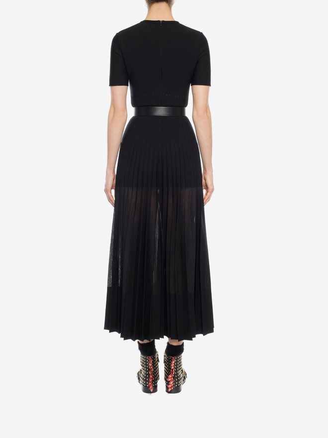 ALEXANDER MCQUEEN Long Knit Plissé Dress Long Dress D e