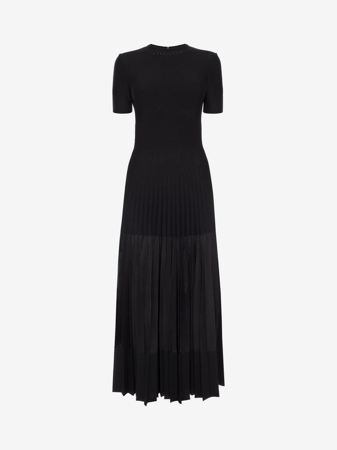 ALEXANDER MCQUEEN Long Knit Plissé Dress Long Dress D f