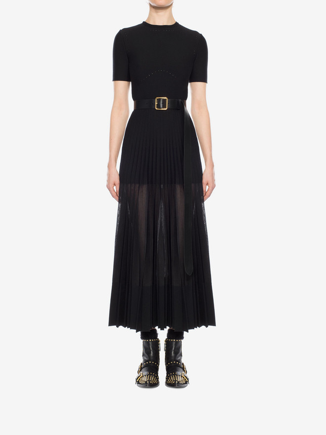 ALEXANDER MCQUEEN Long Knit Plissé Dress Long Dress D r