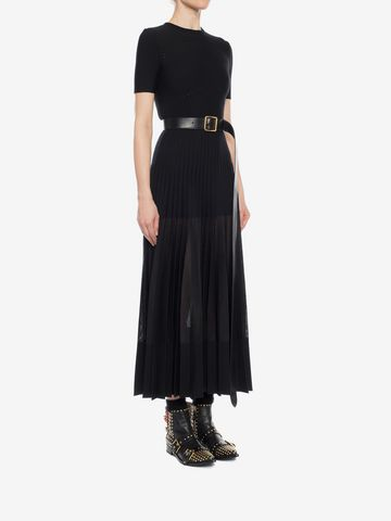 ALEXANDER MCQUEEN Long Knit Plissé Dress Long Dress D d