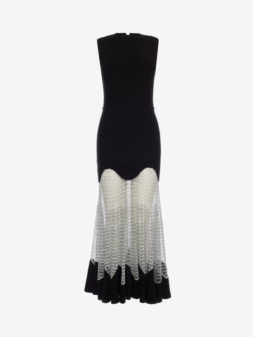 ALEXANDER MCQUEEN Metallic Mesh Knit Dress Long Dress D f