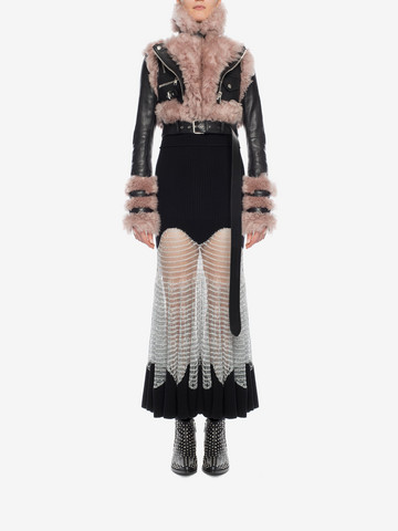 ALEXANDER MCQUEEN Metallic Mesh Knit Dress Long Dress D r