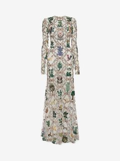 ALEXANDER MCQUEEN Long Dress D Medieval Lattice Embroidery Evening Dress f