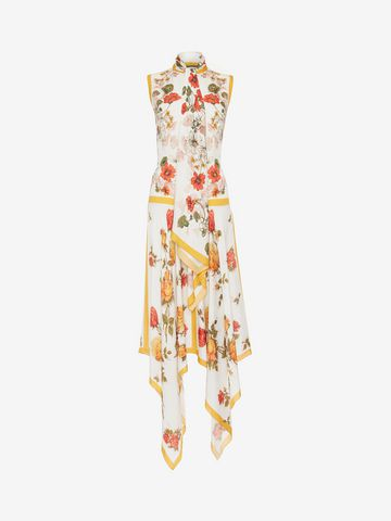 ALEXANDER MCQUEEN Sleeveless Scarf Print Dress ロングドレス レディース f