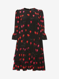 ALEXANDER MCQUEEN Mini Dress Woman Petal Print Oversized Mini Dress f