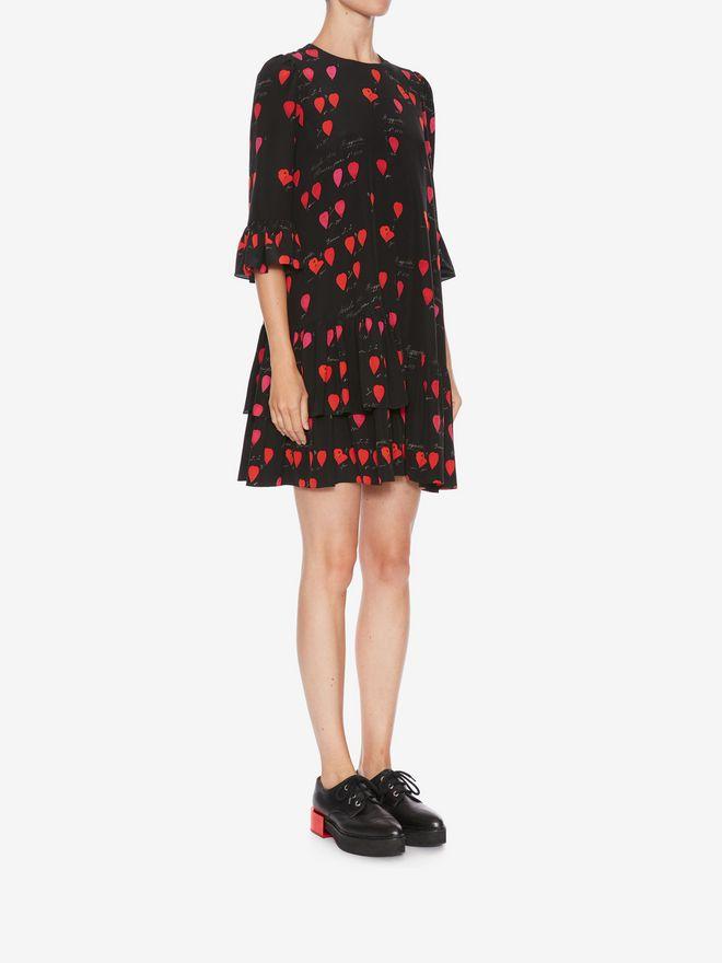 ALEXANDER MCQUEEN Petal Print Oversized Mini Dress Mini Dress Woman d