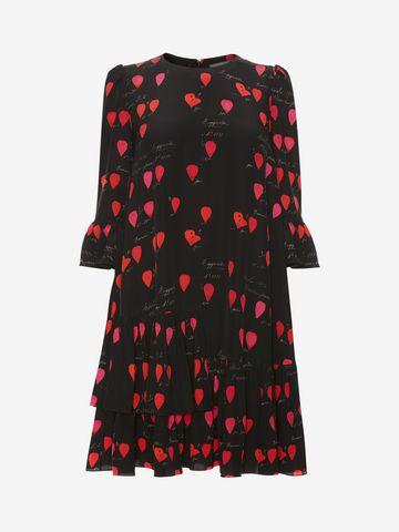 ALEXANDER MCQUEEN Petal Print Oversized Mini Dress Mini Dress D f
