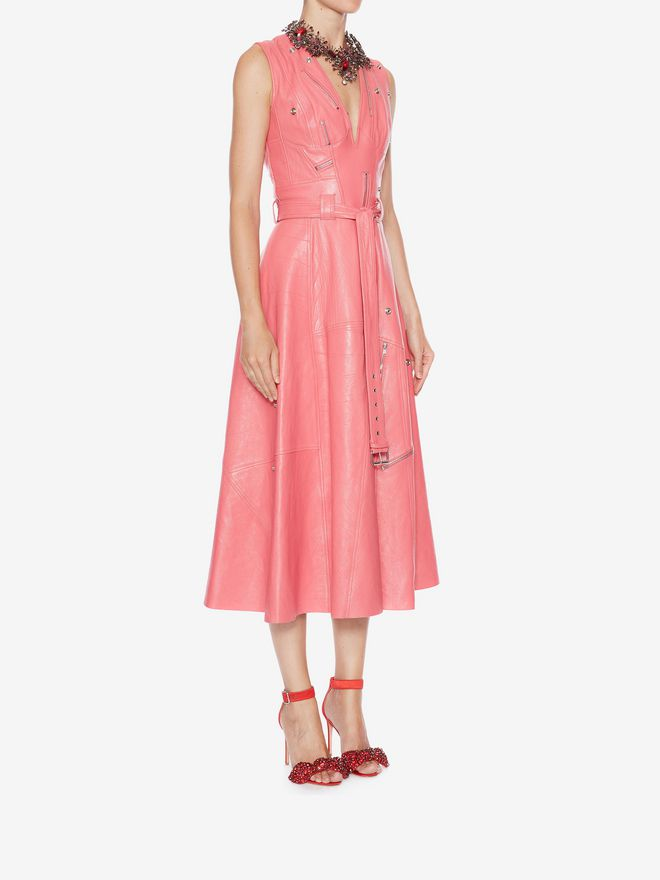 ALEXANDER MCQUEEN Leather Midi dress Mid-length Dress Woman d