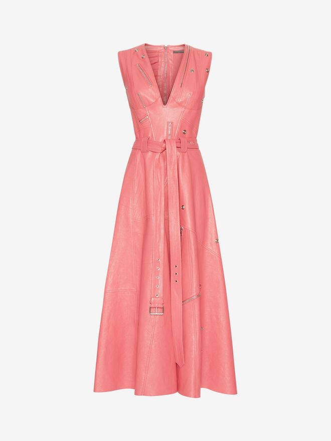ALEXANDER MCQUEEN Leather Midi dress Mid-length Dress Woman f