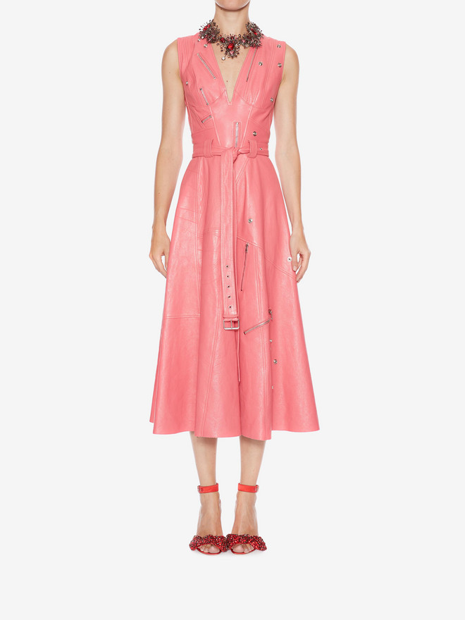 ALEXANDER MCQUEEN Leather Midi dress Mid-length Dress Woman r
