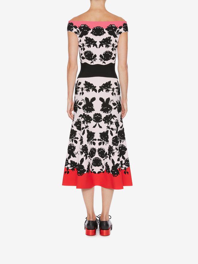 ALEXANDER MCQUEEN Off-The-Shoulder Knit Midi Dress Mid-length Dress D e