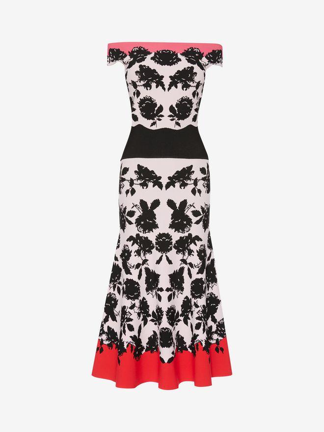 ALEXANDER MCQUEEN Off-The-Shoulder Knit Midi Dress Mid-length Dress D f