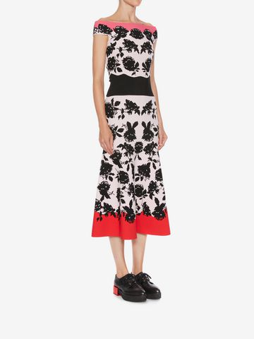 ALEXANDER MCQUEEN Off-The-Shoulder Knit Midi Dress Mid-length Dress D d