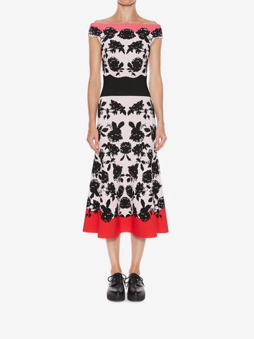 ALEXANDER MCQUEEN Off-The-Shoulder Knit Midi Dress Mid-length Dress D r