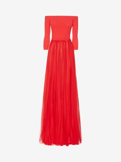 ALEXANDER MCQUEEN Long Dress D Off-The-Shoulder Plissé Dress f