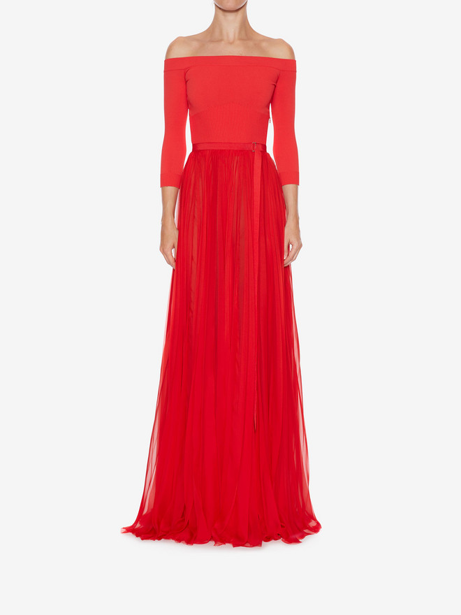 ALEXANDER MCQUEEN Off-The-Shoulder Plissé Dress Long Dress Woman r