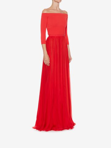 ALEXANDER MCQUEEN Off-The-Shoulder Plissé Dress Long Dress Woman d