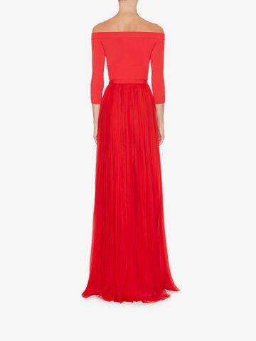 ALEXANDER MCQUEEN Off-The-Shoulder Plissé Dress Long Dress Woman e