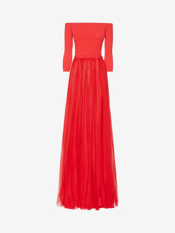 ALEXANDER MCQUEEN Off-The-Shoulder Plissé Dress Long Dress Woman f