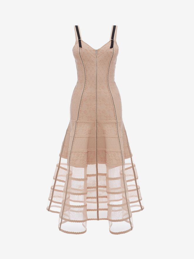 ALEXANDER MCQUEEN Bustier Midi Knit Dress Mid-length Dress Woman f