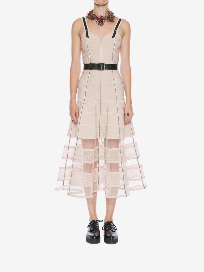 ALEXANDER MCQUEEN Bustier Midi Knit Dress Mid-length Dress Woman r