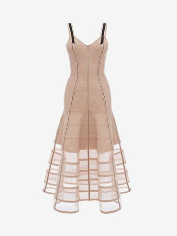 ALEXANDER MCQUEEN Bustier Midi Knit Dress Mid-length Dress D f