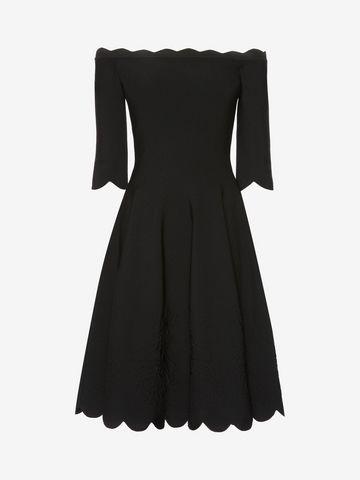 ALEXANDER MCQUEEN Off-The-Shoulder Mini Knit Dress Mini Dress Woman f