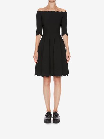 ALEXANDER MCQUEEN Off-The-Shoulder Mini Knit Dress Mini Dress Woman r