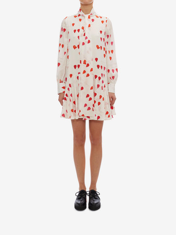ALEXANDER MCQUEEN Petal Print Oversized Mini Dress Mini Dress Woman r