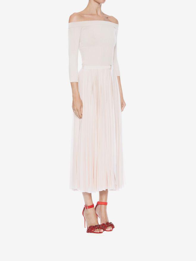 ALEXANDER MCQUEEN Off-The-Shoulder Midi Plissé Dress Mid-length Dress Woman d
