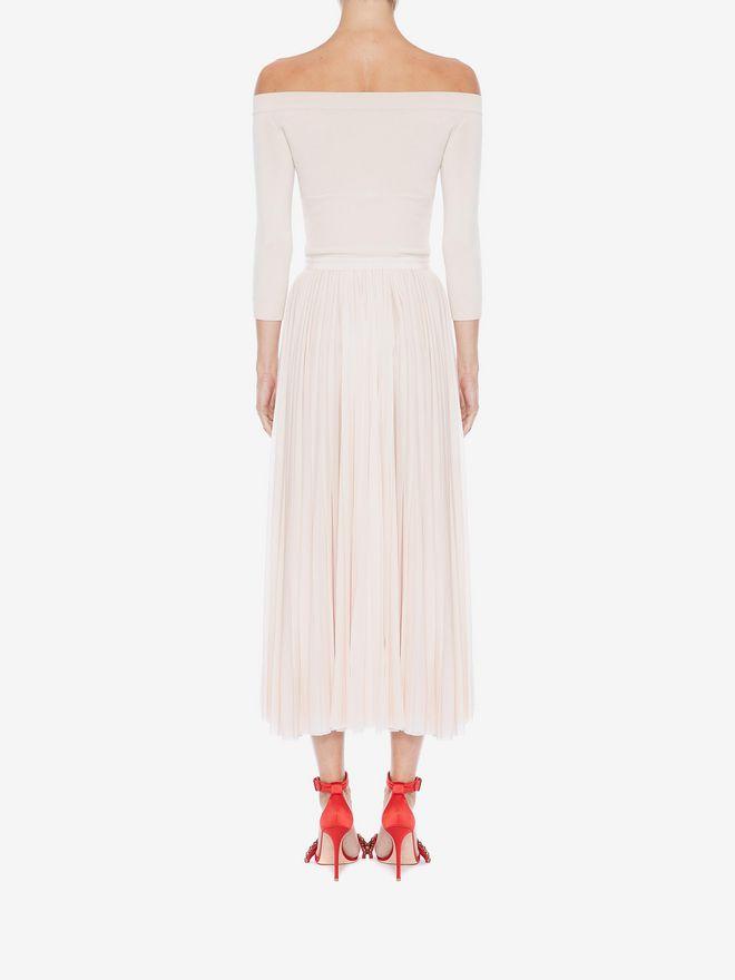 ALEXANDER MCQUEEN Off-The-Shoulder Midi Plissé Dress Mid-length Dress Woman e