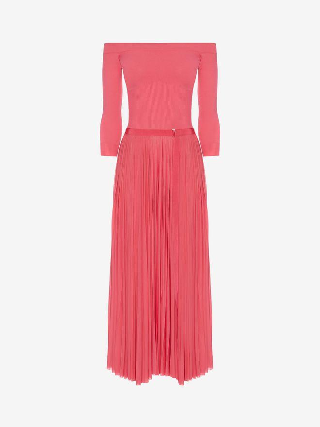 ALEXANDER MCQUEEN Off-The-Shoulder Midi Plissé Dress Mid-length Dress Woman f