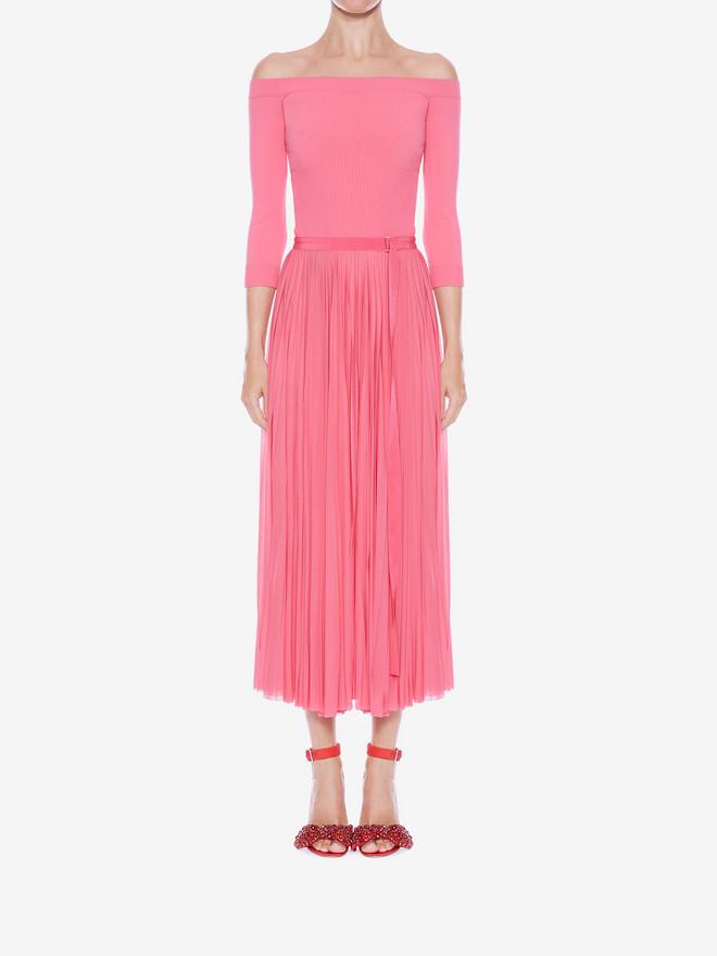 ALEXANDER MCQUEEN Off-The-Shoulder Midi Plissé Dress Mid-length Dress Woman r