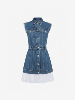 ALEXANDER MCQUEEN Mini Dress Woman Sleeveless Mini Denim Dress f