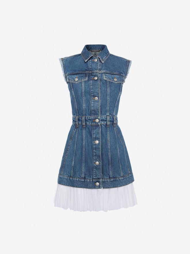 ALEXANDER MCQUEEN Sleeveless Mini Denim Dress Mini Dress Woman f