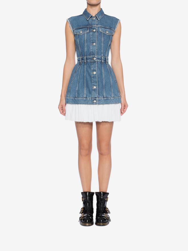 ALEXANDER MCQUEEN Sleeveless Mini Denim Dress Mini Dress Woman r