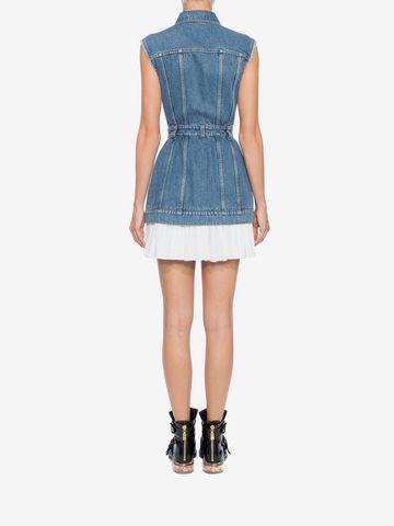 ALEXANDER MCQUEEN Sleeveless Mini Denim Dress Mini Dress Woman e
