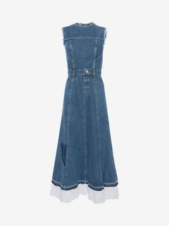 ALEXANDER MCQUEEN Mid-length Dress Woman Sleeveless Midi Denim Dress f