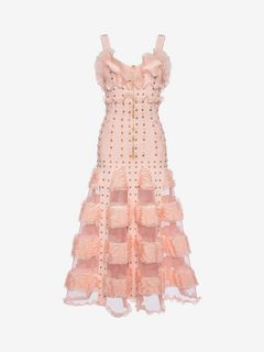 ALEXANDER MCQUEEN Long Dress D Cage Ruffle knitted Long Dress f