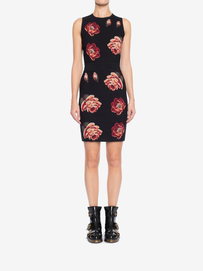 ALEXANDER MCQUEEN Rose Tapestry Mini knit Dress Mini Dress Woman r